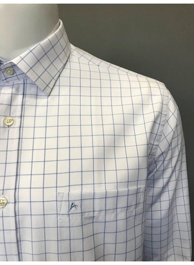 Abbate Kolay Ütülenır Klasık Yaka Ekose Regular Fıt Ceplı Gömlek Mavi